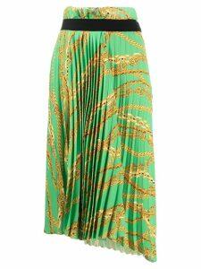 Balenciaga pleated chain print skirt - Green