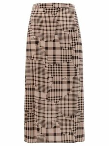 Rokh ripped check midi skirt - Black
