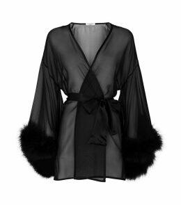 Marabou Trim Kimono Robe