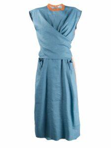 MRZ wrap front dress - Blue