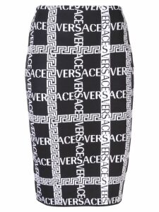 Versace logo printed pencil skirt - Black
