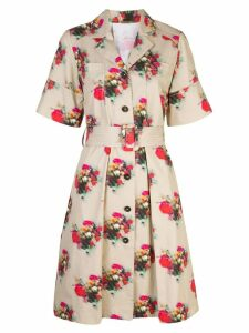 Adam Lippes floral print belted dress - Brown
