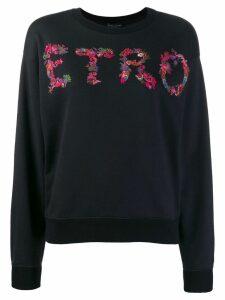 Etro paisley logo print sweatshirt - Black