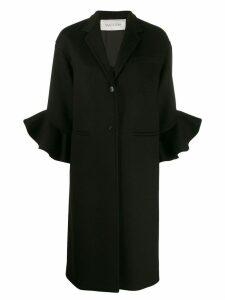 Valentino ruffle sleeve coat - Black