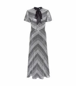 Platinum Tie Neck Midi Dress