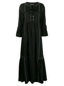 Alberta Ferretti lace-up flared maxi dress - Black