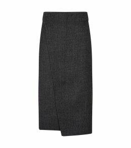 Wrap Effect Wool Skirt