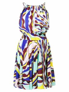 Emilio Pucci Burle Print Ruched Dress - Blue
