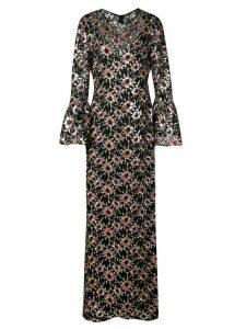 Prabal Gurung floral embroidered long dress - Black