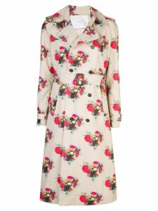 Adam Lippes floral print trench coat - Brown