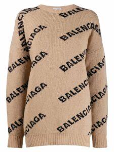 Balenciaga logo crew-neck jumper - Neutrals