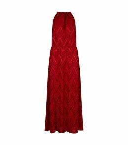 Zig Zag Lurex Halter Dress