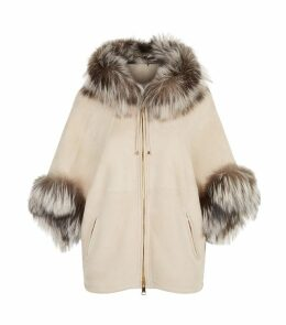 Fox Trimmed Shearling Hooded Jacket