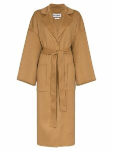 Loewe oversized belted wool cashmere-blend coat - Brown