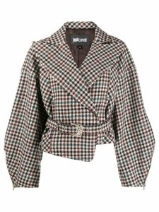 Just Cavalli check print belted jacket - Neutrals