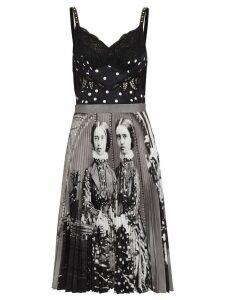 Burberry Polka Dot and Victorian Portrait Print Dress - White