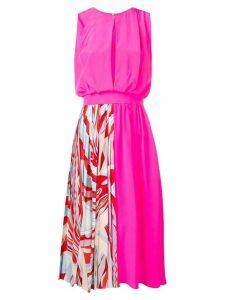 Emilio Pucci Burle Print Panelled Silk Midi Dress - Pink