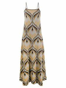 Circus Hotel geometric flared maxi dress - Neutrals