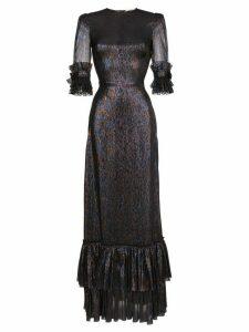 The Vampire's Wife Charlotte ruffle sleeve silk blend dress - Metallic