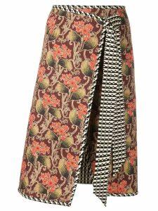 Oscar de la Renta mixed print wrap skirt - Pink