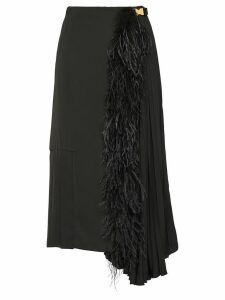 Prada feather trimmed midi skirt - Black
