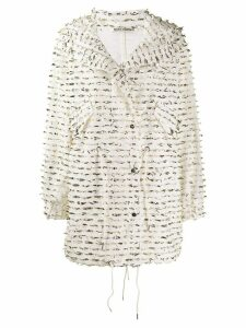 Jourden foil embellished single-breasted coat - White
