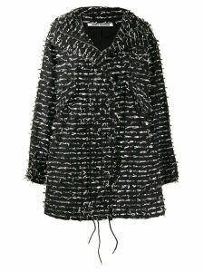 Jourden foil embellished boxy coat - Black