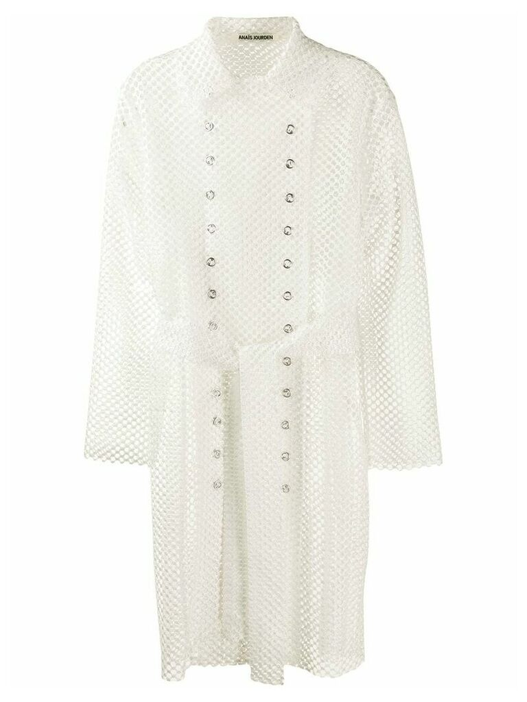 Jourden mesh style trench coat - White