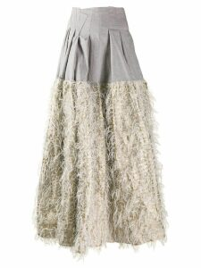 Jourden faux-feather embellished skirt - Grey