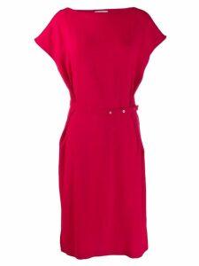 Poiret buttoned belt midi dress - Red