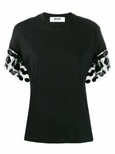 MSGM ruffle detail T-shirt - Black