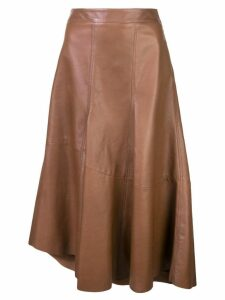 Brunello Cucinelli asymmetric leather skirt - Brown
