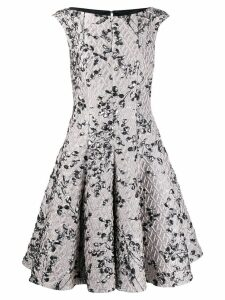 Talbot Runhof jacquard flared dress - Neutrals