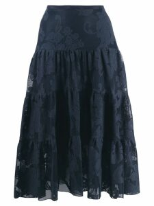 See By Chloé floral mesh tiered skirt - Blue