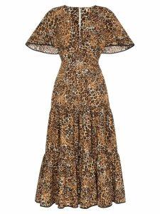 Johanna Ortiz leopard print ruffled midi-dress - Brown