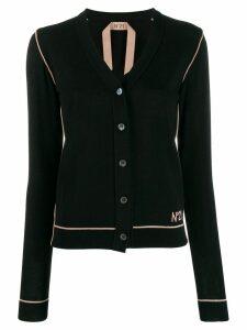 Nº21 contrast trimmed cardigan - Black