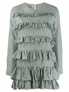 Jourden striped ruffled mini shirt dress - Green