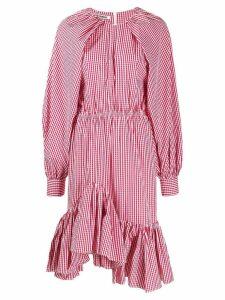 Jourden gingham asymmetric midi dress - Red