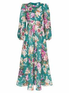Zimmermann Allia floral print midi dress - Emerald Floral
