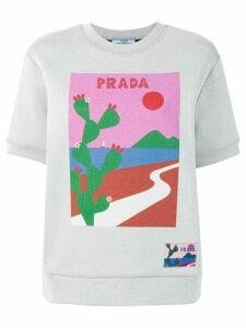 Prada cactus print short sleeve sweatshirt - Grey