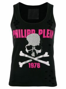 Philipp Plein crystal-embellished distressed tank top - Black