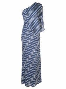 Halston Heritage striped one shoulder dress - Blue