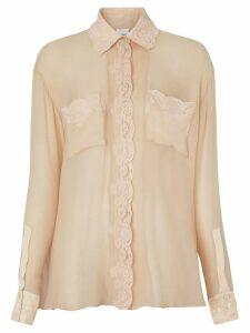 Burberry Lace Detail Silk Chiffon Shirt - Neutrals