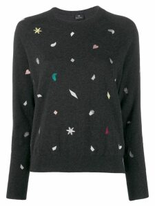 PS Paul Smith embroidered fitted sweater - Grey
