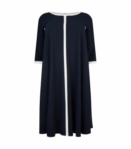 Contrast Trim Crepe Dress