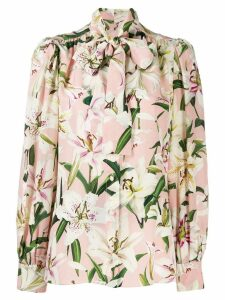 Dolce & Gabbana floral tie neck blouse - Pink