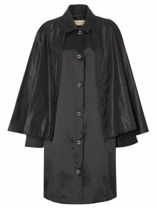 Burberry Cape Detail Nylon Twill Belted Coat - Black