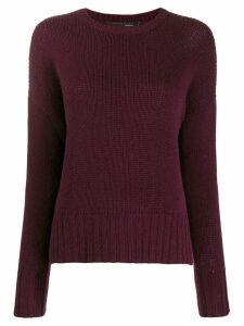 Incentive! Cashmere ribbed trim jumper - Red