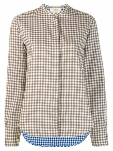 Ports 1961 gingham band collar shirt - Green