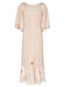 One Vintage floral appliqué maxi-dress - PINK